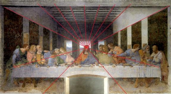Math and perspective is reflected in Leonardo da Vinci's Last Supper.